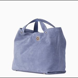 New Kate Spade Stardust Blue Suede Willa Satchel